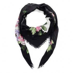 NWT Authentic Gucci Black Flowers Modal Silk Scarf